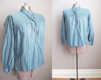 1970s Vintage Yves Saint Laurent Blouse Shirt Blue Black Stripe Cotton Tunic / Medium