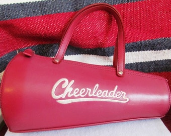 Vintage Red Leather Cheerleader Purse