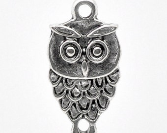 5 Pieces Antique Silver Small Owl Charms