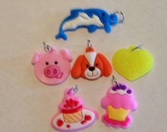 6 Pieces Cute Loom Band Charms