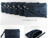 SUPER SALE - Set of 5 Navy Bow Clutches - Bridal Clutches, Bridesmaid Clutches, Bridesmaid Wristlet, Wedding Gift - Made To Order