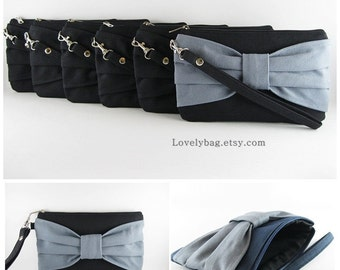 SUPER SALE - Set of 8 Black Bow Clutches - Bridal Clutch, Bridesmaid Clutch, Bridesmaid Wristlet, Wedding Gift, Zipper Pouch - Made To Order