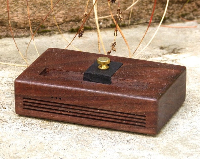 iPhone Plus Docking Station - The CONCERT Speaker Dock in Walnut – Use With or Without a Cover - Boosts the Sound