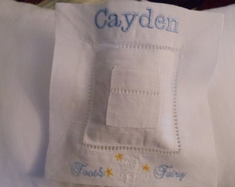 Personalized White Linen Hemstitched Tooth Fairy Pillow
