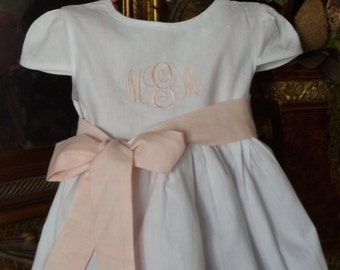 Monogrammed Personalized White Cotton Christening/Baptismal Dress