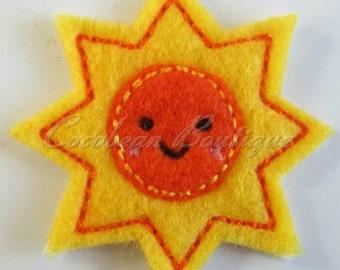 Happy Sun feltie -mini embroidery-instant download