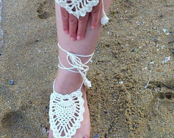 Crochet Barefoot Sandals and lace gloves, Foot jewelry, Wedding, Victorian Lace, Sexy, Yoga, Anklet , Bellydance,Beach Pool,Steampunk