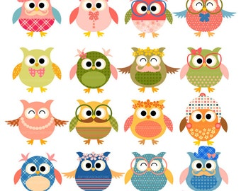 Blossom owl clip art for Personal and Commercial use - INSTANT DOWNLOAD