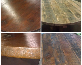 ROUND reclaimed wood table