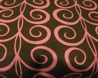 Twirling Tendrils in Brown and Pink by Pillow and Maxfield for Michael Miller Fabrics 1 yard