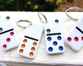 Upcycled Glitter Dominoes Embellished Purse Charm Key Chain