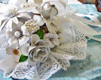 Wedding bridal bouquet made from vintage enameled flower pins brooches ClaudiaMyersDesigns exclusive and original
