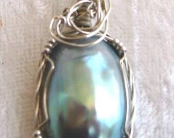 Blue Shell Pendant, Nautilus Shell Pendant, Osmena Pearl Pendant Wire Wrapped Sterling Silver Argentium 935 Anti Tarnish