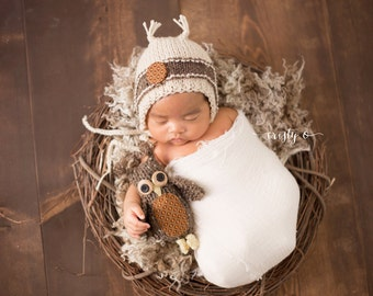 Knitted Boys Newborn Owl  Bonnet and Owl Toy , photo prop, Brown, Fall, Orange