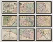 Old Paris Map Art Print 1878 Antique Map Archival Reproduction - Set of 9 Prints