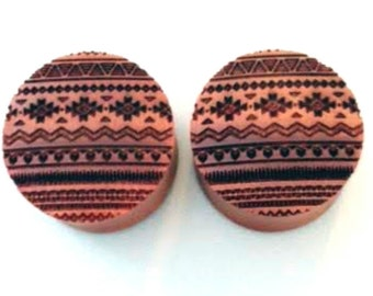 "Custom Handmade Organic ""Aztec"" Wood Plugs - You choose wood type/color and size 7/16"" - 30mm"