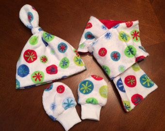 Baby Minky Hat, Scarf and Mittens Set Snowflakes