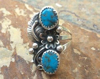 Native American and sterling silver and turquoise ring