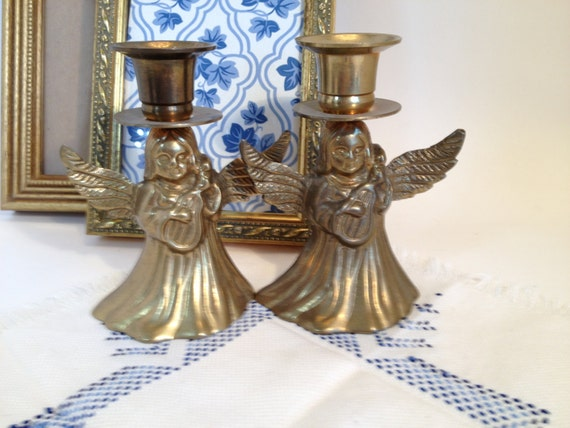 BRASS Angel Candleholders, Vintage Brass Angel Candlesticks  with harp Made in India, Vintage Solid Brass Angel Candleholders