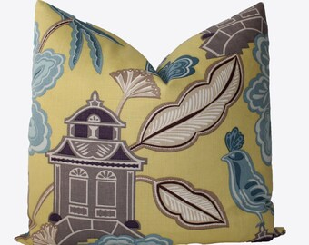Decorative Chinoiserie Yellow, Taupe Pillow, Pagodas and Birds, 18x18, 20x20, 22x22, Throw Pillow
