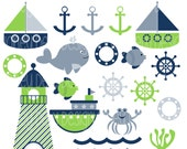 Instant Download Clipart Package 220 Blue and Green Nautical Clipart