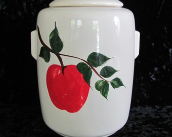 Art Deco Shaped Mc Coy Cookie Jar Hand Painted Apple Design