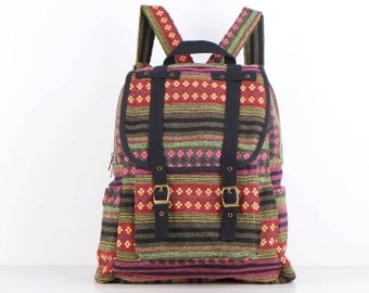 Woven Backpack Ethnic Tribes Rustic Folk Traditional Bag, Organic Cotton Textile, Book bag (Black Trim)