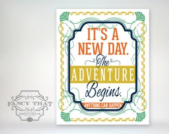 8x10 art print - It's a New Day, the Adventure Begins - Gold, Green, Orange & Navy Art Deco - Inspirational Typography Poster Print