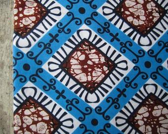 African wax print fabric, Dutch wax print, batik fabric, ONE yard of cotton wax print fabric in turquoise blue with brown and white, Ankara