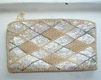 Small Beaded Clutch Purse, La Regale, Beige and White, Zip Closure, Beads and Sequins