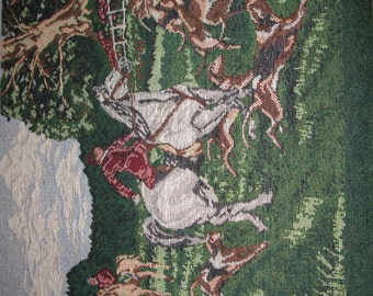 Fox Hunt Tapestry Panel, Fabric Decor set of 3 Pillow Panels, Equestrian Horse, English Hunt Scene Tapestry