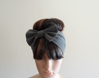 Dark Grey Bow Head Wrap. Headband