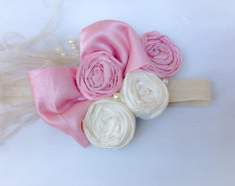 Rosettes Headband, Big Bow Headband, Vintage inspired Baby Girl headband