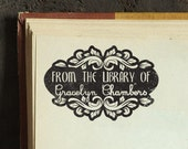 Library Antique - Personalized Wooden Stamp - Book Stamp - FREE SHIPPING