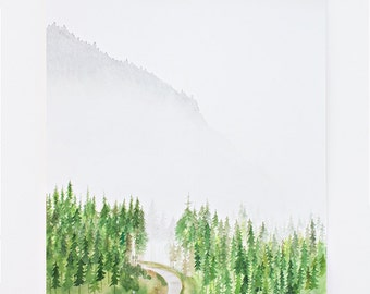 Watercolor PRINT - Misty Foggy Mountain - landscape - nature - green - office - artwork