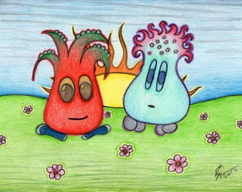 Post card with animals drawing, fantasy animals card, greeting card, birthday card, funny landscape, little monsters, aliens