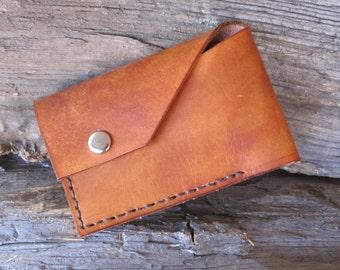 Thin, Simple. Men's Leather Wallet. Dark Brown color w/ Dark Brown Stitching.