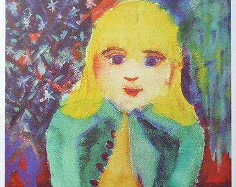 Henry Miller Card Girl with Bird 1947 Henry Miller Blank Vintage