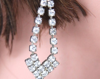Vintage Rhinestones Earrings Silver Tone Clear Rhinestone Dangle Post Earrings Wedding Bridal Bridesmaid Jewelry Prom Party Earrings