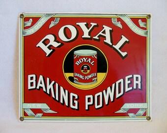 Vintage Baked Enamel Sign ~ ROYAL BAKING POWDER ~ Advertising / Retro Art ~ Nabisco ~ Vintage Baking Sign ~ Kitchen Sign Decor ~ Sign Art