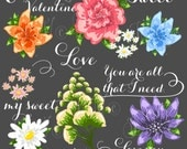 23 unique Wedding Floral clipart, Digital Wreath, Frames, Flowers, Arrows Clip art scrapbooking,  Invitations, Ribbons, Banners, Heart