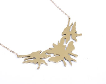 Rorschach test necklace - Brass & plated gold chain