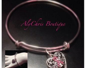 Pink Ribbon Breast Cancer Awareness Bracelet, Pink Crystal Ribbon Charm Bangle, Survivor bracelet, awareness jewelry, Inspirational bracelet