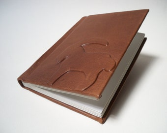 Leather Book with Goat, blank pages, brown leather, handmade