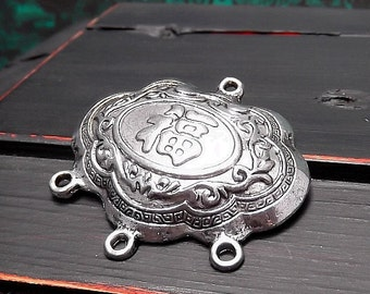 Asian Style Focal Pendant Drop - Oval Pendant - Antique Silver Finish - 38x28mm - Pkg. 1