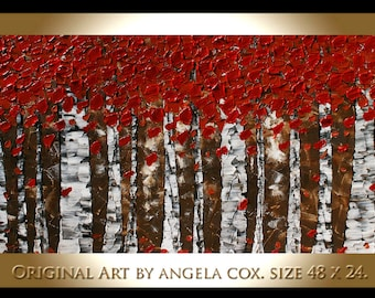 Original Modern  Landscape  Abstract Acrylic Impasto Palette Knife   Birch  Painting. Size 48 x 24. Made2Order.