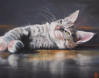 Aspen resting.  A giclee print from my portrait of my cat in pastels.