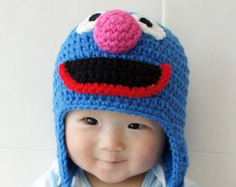 Grover Monster Hat, Grover, Crochet Baby Hat, Animal Hat, photo prop, blue, Inspired by Cookie Monster on Sesame Street