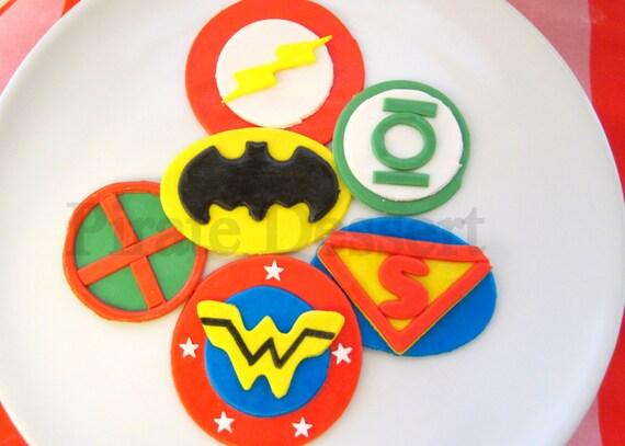 Justice League Cake Decorating Kit : Justice League Edible SUPERHERO Cupcake Toppers Set Justice