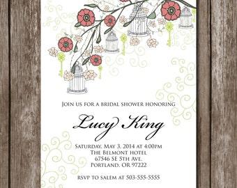 Spring Birdcages Bridal Shower Invite/Digital File/Bridal Shower*Baby Shower